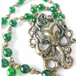 Green Czech Glass Steampunk Octopus Necklace